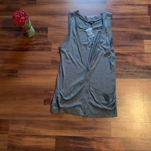 Express Gray Button Down Sweater Vest NWT